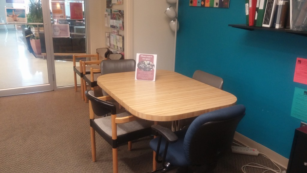 We have a quiet work space available for students to read or study.  Students continue to use this space during times when the lounge is closed for a meeting or event.