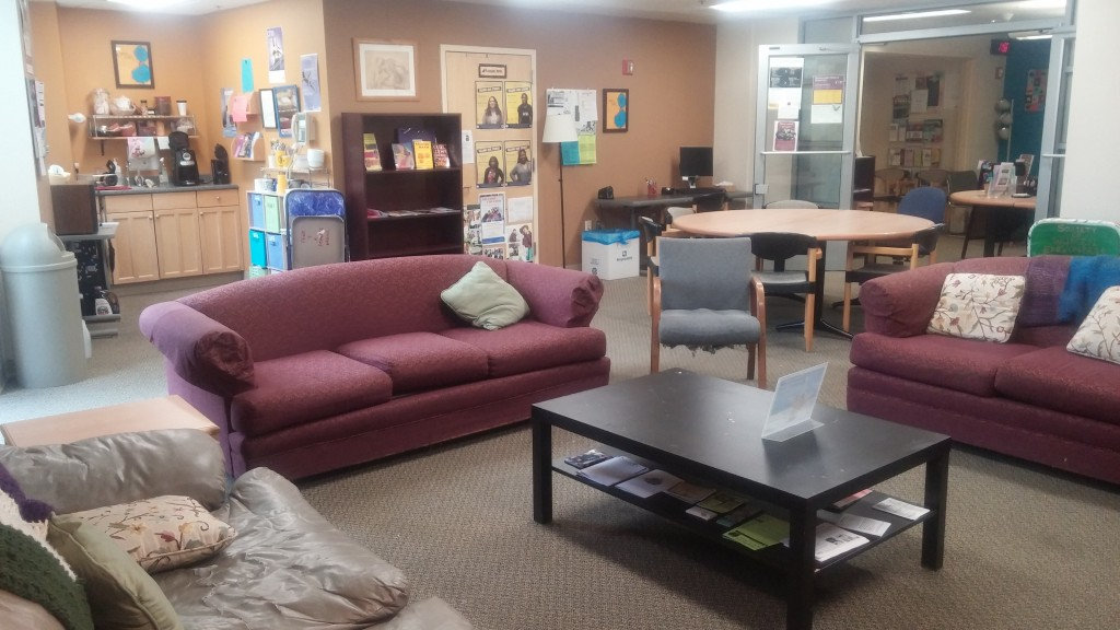 Most of our events and group meetings are hosted in the lounge space. When it's not reserved for programs, the space is open for community members to study, work on the computer, eat lunch, or just relax!