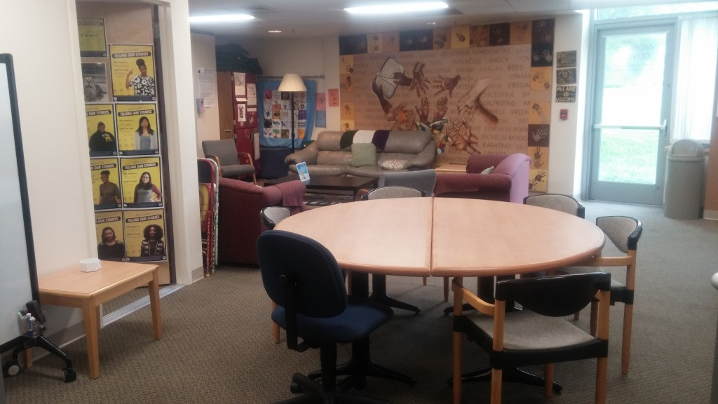 Our lounge space includes a student work table, a sitting area, and the coordinator's office.
