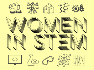 "graphic with pale yellow background and a collage of STEM-related icons. In large text ""WOMEN IN STEM."""