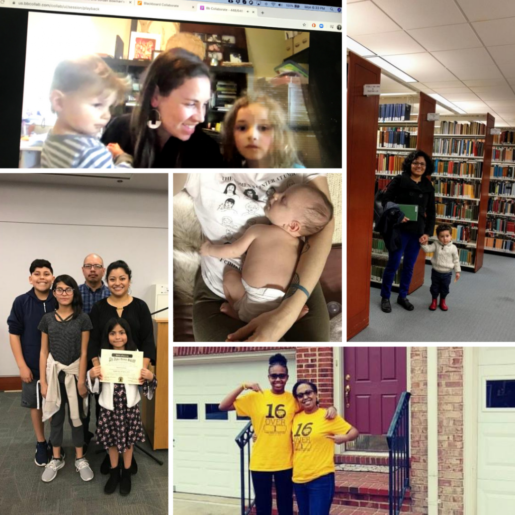 A photo collage of 5 photos of UMBC faculty, staff, and students with their children.